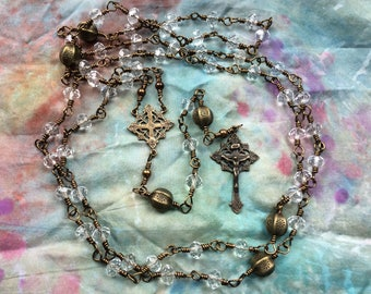 Beautiful Full Size Traditional Wire Wrapped Rosary in Cut Glass Crystal and Real Beonze