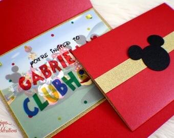 Clubhouse Invitations | Mickey | Fun | Birthday | Glitter | Vellum | Polkadots