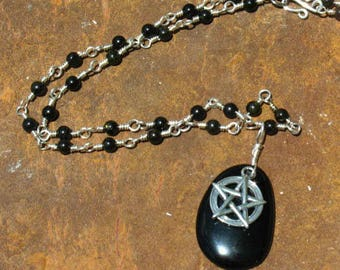 Obsidian and Sterling Silver Pentacle Necklace - Hand Made Chain Links - Protection - Dark Goddess