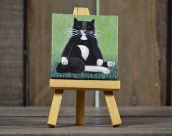 Tiny acryllic painting of Foppe Buddha cat - made to order within 7 days