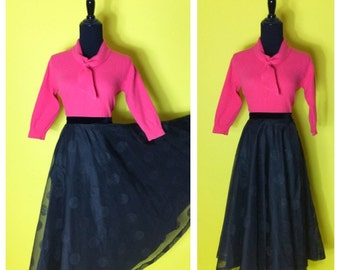 Vintage 1950s Semi Full Circle Skirt