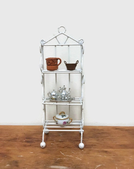 Vintage Miniature Wire Rack with Shelves - White - For Dollhouse or Diorama