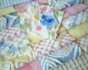 """Vintage Chenille Bedspread Squares-Pretty Pastels- Blue Lollipop Flower Bouquet-21-6"""" squares"""