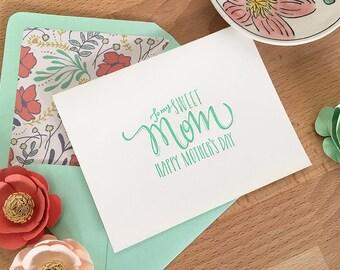 Mothers Day Letterpress Card - Mint Sweet Mom - Custom Lined Envelope