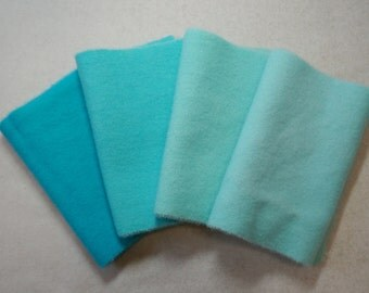 "Hand Dyed Wool Felt, Turquoise Four 5-6"" x 15-16"" pieces, Perfect for Rug Hooking, Applique' and Crafting"