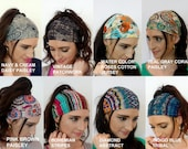 Wide Headband Wrap Head Scarf Yoga Workout Fitness Headband Choose ANY TWO Cotton Jersey Womens Headband Chemo Head Wrap - 40 Color Options