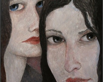 Two Women Fine Art Print Female Portrait Original Painting by Pojani, Ipalbus