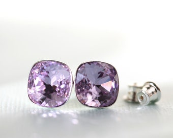 Violet crystal stud earrings, Swarovski cushion cut 10mm square, sterling silver, gift for her, 25 and under, free shipping in CANADA, post