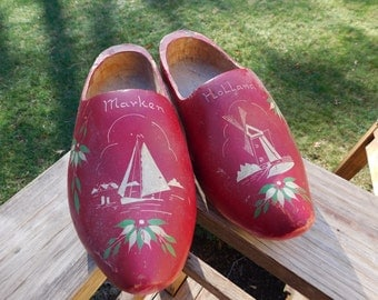 Vintage Dutch Wooden Shoes Hand Painted Ruby Red Carved Wood