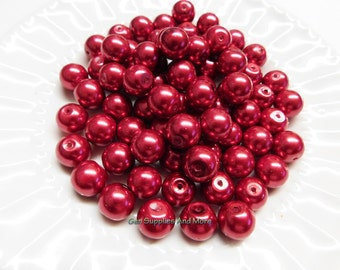 12mm Red Glass Pearl Beads, Red Pearl Beads, Glass Pearl Beads, Pearl Beads - 10pcs