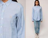 Ralph Lauren Shirt Button Up 90s Grunge Shirt POLO Cotton OXFORD Light Blue 1990s Long Sleeve Vintage Medium Large
