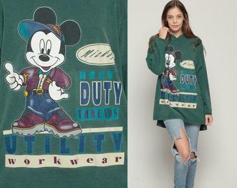 Mickey Mouse HOODIE Shirt Walt Disney Tshirt 90s Hooded Grunge Shirt Cartoon Plaid 1990s Vintage Retro Green Large