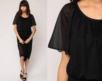 SHEER Black Dress 70s Midi Boho 80s High Waisted Party 1970s Flutter Sleeve Bohemian Vintage LBD Plain Medium Large
