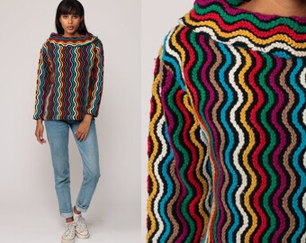 Rainbow Striped Sweater 70s Knit Boho Retro Hippie Boatneck 1970s Hipster Vintage Pullover Jumper Bohemian Psychedelic Medium