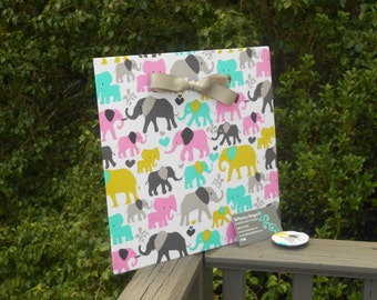 ELEPHANT BABY NURSERY, Magnetic Bulletin Board, Fabric Magnet Board, Magnetic Board, Memo Board, Magnet Message Board, Wall Decor
