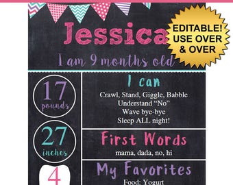 DIY editable printable Baby monthly milestone Girls chalkboard poster Instant download sign Digital File 8x10 or 16x20