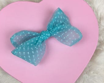 Baby Blue Sheer Swiss Dot Rosie Bow Barrette for Baby, Newborn, Infant, Toddler, Child, Girl, or Adult
