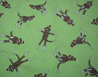 Sale    Sock Monkey  Fabric   Fat Quarter piece   Discontined color!!