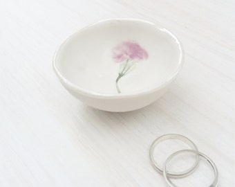 Ring Dish - Ring Holder Bowl - Birthday Gift for Her - Mothers Day Gift for Mum - Jewellery Holder - Pressed Flower - jewelry holder