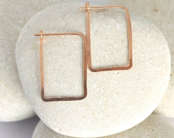 Small Square Hoops in pink rose gold fill from the Ophelia Collection