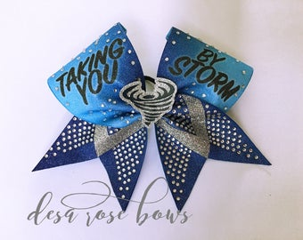 3D Storm Cheer Bow in Blue