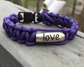 Purple paracord bracelet, love bracelet, paracord bracelet, cuff bracelet, survival bracelet, macrame bracelet