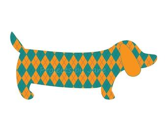 Dachshund Dog applique template | PDF applique pattern | applique template