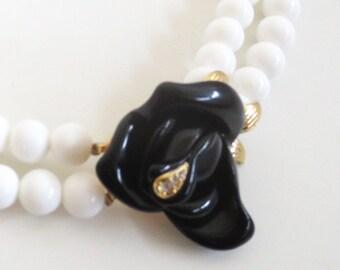 Vintage 80's Avon // Kenneth Jay Lane Midnight Rose Necklace