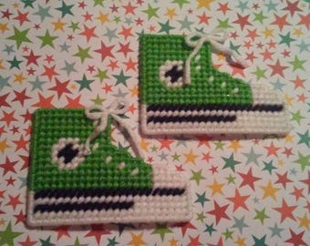 Handmade Spring Green Converse Shoe Magnets Plastic Canvas
