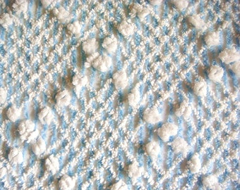 Cabin Crafts Blue and White Vintage Cotton Chenille Bedspread Fabric 18 X 24 Inches