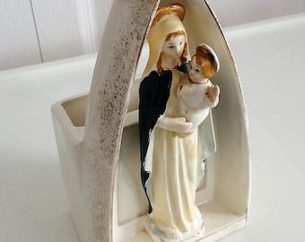 60s Virgin Mary/Baby Jesus Shrine flower pot Catholic Christian