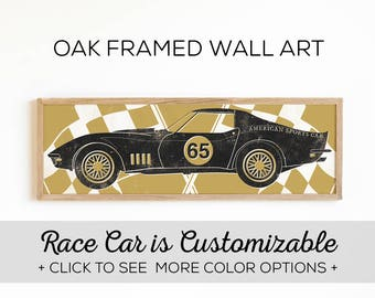 Vintage Race Car Art - Perfect for a Race Car Themed Bedroom - 4 Car Designs and 4 Color Options
