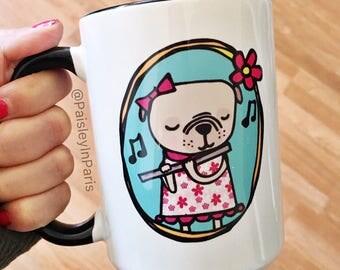 "15 oz, Pug Playing Flute, ""Without Music Life would B fla"" Coffee Mug"