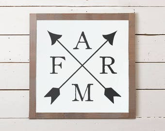 FARM Arrow Wall Sign | Cute Wood Signs, Southern Decor, Signs with Sayings, Farm Sign, Farmhouse Decor, Farmhouse Wall Art, Farmhouse Signs