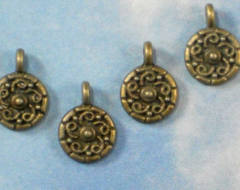 24 Small Spiral design Dangles Charms 12mm Bronze Tone 9mm Disk (P548)