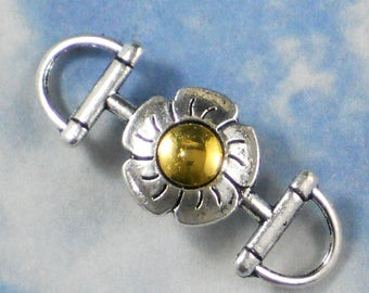 2 Flower Bracelet Links Connectors  Silver and Gold Tone (P1298)