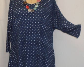 Plus Size Top, Coco and Juan, Lagenlook, Plus Size Tunic, Navy, Star Print, Knit Drape Side, Women's Tunic Top, One Size Bust  to 60 inches