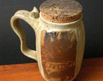 Stoneware Beer Mug With Natural Bark Cork ~ VW Bus Design ~