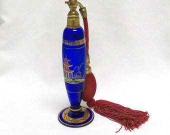 Perfume Atomizer Czech Cobalt Asian Theme with  Hand Painted Pagoda