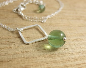Necklace with a Brushed Sterling Silver Square Loop and a Green Glass Bead Wire Wrapped with a Sterling Silver Pin CDN-703