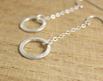 Earrings with Brushed Silver Loops on Sterling Silver Chains CE-264
