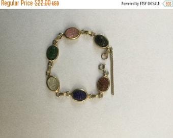 ON SALE Vintage Glass Scarab Book Chain Link Bracelet 1960s