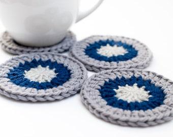 READY TO SHIP - Crocheted Wool Coasters, Gray & Navy Granny Square Coaster Set - Caledon Coasters