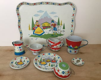 OHIO ART Dishes, Childs Tin Tea Set, Swiss Miss Service for 4, Circa 1960s, Vintage Toy Collectible, Pretend Tea Party, Made in USA