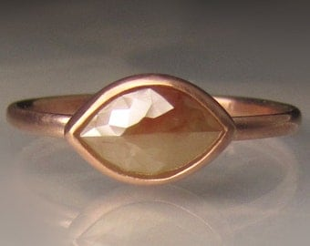 14k Rose Gold Rose Cut Diamond Engagement Ring, Rose Cut diamond Solitaire Ring, 14k Rose Gold Diamond Ring