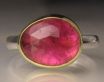 Rose Cut Pink Tourmaline Ring, 18k Gold and Sterling Silver