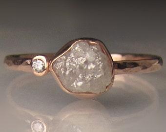 Raw Diamond Engagement Ring, Rough Diamond Ring in 14k Rose Gold, White Uncut Diamond Ring