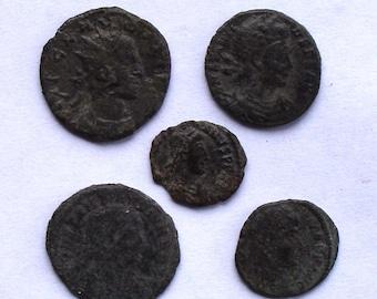 5 Authentic Ancient Roman Bronze Coins C. 300A.D.