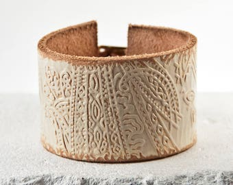 White Leather Cuff Bracelet Jewelry Wristband