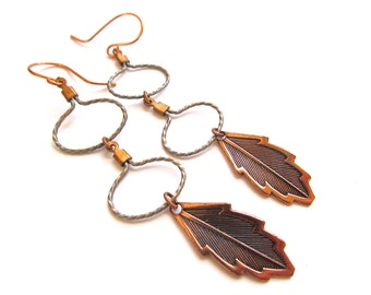 Funky Tribal Dangle Earrings in Copper and Silver